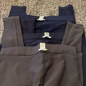 3 pairs leggings—green, blue and black
